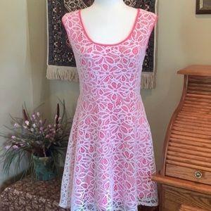 London Times Pink & White Lace A-Line Dress Sz 8P